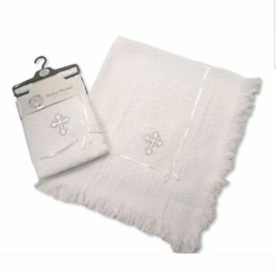 New Baby Christening Knitted Luxury Embroidered Cross Blanket Gift Fringed Shawl