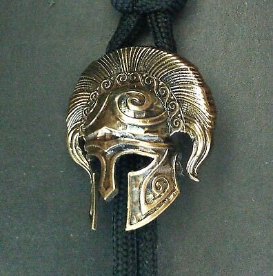 "Collectible Solid Bronze Bead ""Spartan Helmet"" knife lanyard Paracord"