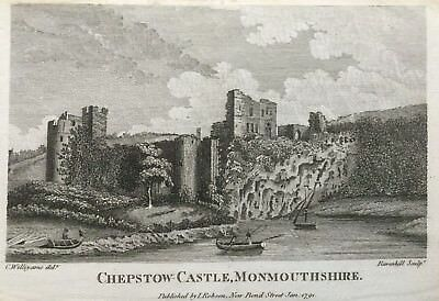 1791 Antique Print; Chepstow Castle, sorth Wales after Williyams