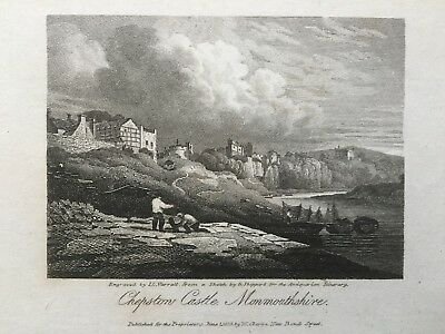 1816 Antique Print; Chepstow Castle, south Wales after George Shepherd