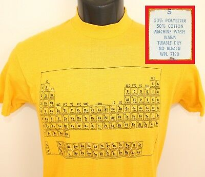 Periodic Table of Elements vtg tee XS/S yellow 80s soft thin stretchy chemistry