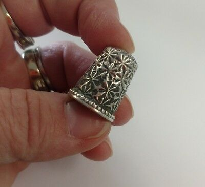 Antique Sterling Silver ORNATE REPOUSSE Thimble Circa 1890s SIZE 7