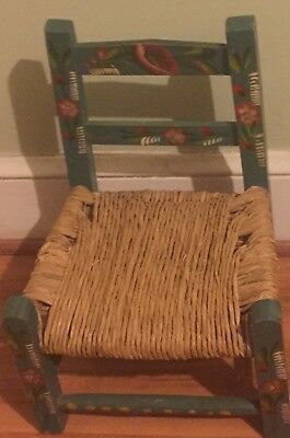 Vintage Hand Painted Wood Folk Art Ladderback Childs/Doll Chair with Rush Seat