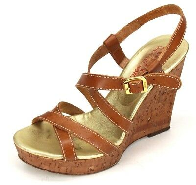 39dde2733b Michael Kors Brown Leather Strappy Slingback Wedge Sandals Shoes Size US 6 M