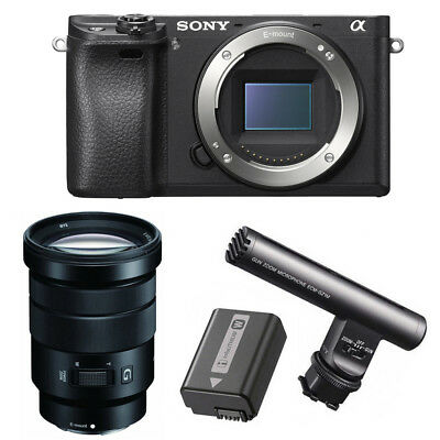 Sony Alpha a6300 Mirrorless Camera with 18-105mm Lens and Microphone Bundle