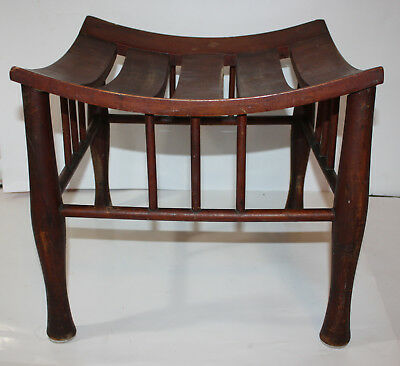 "Antique Vintage Slatted Wood Seat Bench Ottoman Dark Mahogany 16"" x 16"" x 15"""