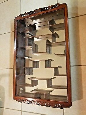 "Vintage 32"" Oriental Rosewood Curio Display Stand with shelves doors and drawers"