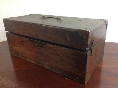 Vintage wood box restoration project carry handle felt lining old