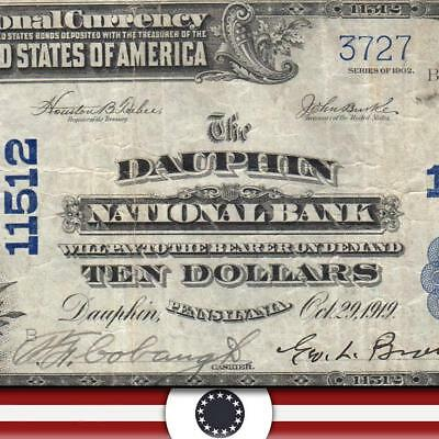 1902 $10 DAUPHIN PA National Bank Note PENNSYLVANIA CURRENCY