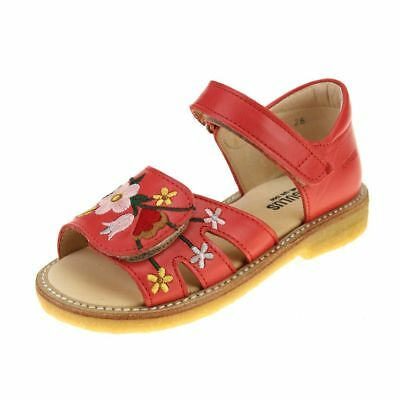 Angulus Embroidered Sandal Girls Red Coral Sandal size eu kids hook loop leather
