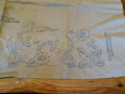 Vintage Embroidery Transfer On Linen- Large Jacobean Panel