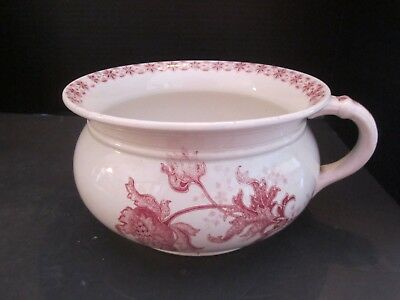 "Antique Chamber Pot. Malines B.F.K. Ironstone w/Handle. Red Floral. 8.5"" diam."