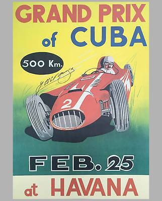 1958 Grand Prix of Cuba event poster, autographed by Fangio
