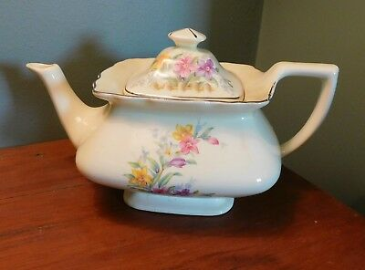 Vintage  W.S.George Floral Teapot  Canarytone LIDO USA