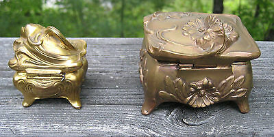 2 ANTIQUE CASKET STYLE JEWELRY BOXES ART NOUVEAU c1900-1915