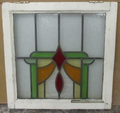 "OLD ENGLISH LEADED STAINED GLASS WINDOW Sturdy Abstract 21.75"" x 22"""