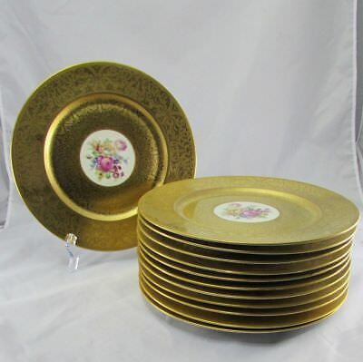 Antique Set of 12 Gold Encrusted Heinrich & Co Selb Bavaria Service Plates 11""