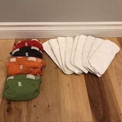 4 Multicolor gDiapers gPants Lot Size Small 8-14 lbs with 9 Bumkins Cloth Insert