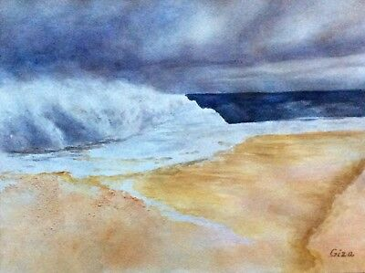 The Wave, art, original watercolor, ocean, seashore