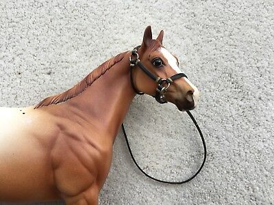Nice Breyer Horse Traditional Accessory Black Leather Halter Lead Tack