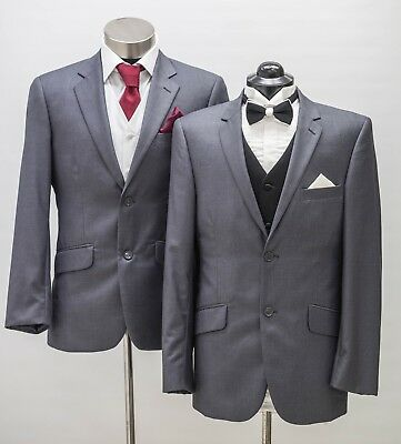 Men's Charcoal Slim Fit Suit 2 Piece,2 Button, As New, for Work, Groom, Wedding