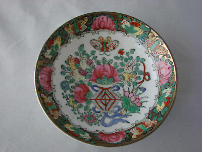 Antique Chinese Export Porcelain Plate Canton Famille Rose 5.5 Inch Diameter