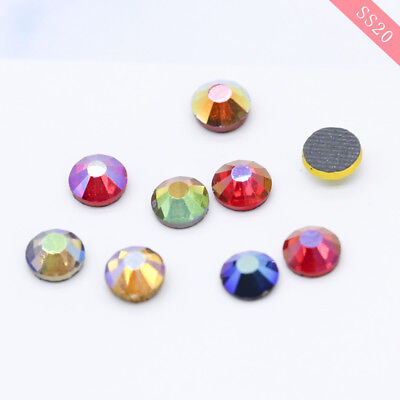 SS20 Color AB Hotfix Iron on/Glue on Flat Back Crystal Rhinestone Diamante Beads