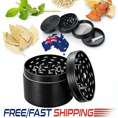 Herb Tobacco Grinder Smoke Muller Metal 4-Piece Magnetic Lid Crusher Scraper AU