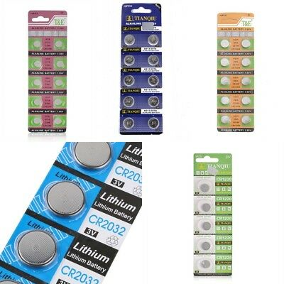 10PC PILE AG13/AG10 LR44 L1154 1.55V Button Coin Cell Alkaline Batteries BOTTONE