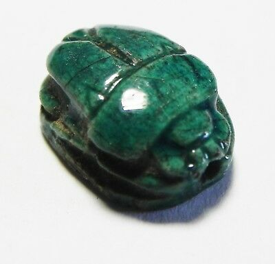 Zurqieh -As3756- Ancient Egypt , New Kingdom Glazed Stone Scarab. 1400 B.c