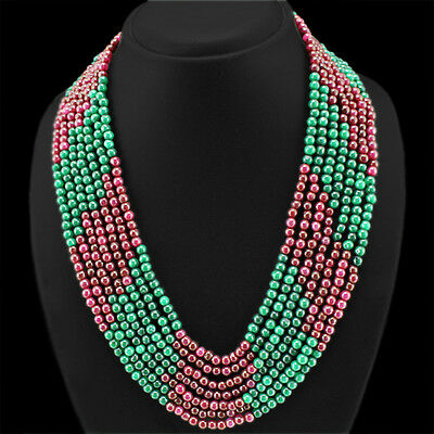 BEST AMAZING 588.00 CTS EARTH MINED 7 LINE RUBY /& GREEN EMERALD BEADS NECKLACE