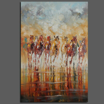 Hand-painted Modern Abstract Wall Art Oil Painting Home Decor Horses (Framed)