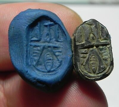 Zurqieh -As3769- Ancient Egypt , Stone Scarab Amulet. 1400 - 1300  B.c