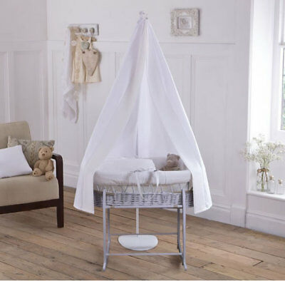 New Clair de lune 6 pc grey moses basket starter set white waffle and drape rod