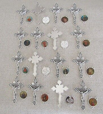 Lot 32 Rosary Crucifixes crosses & Centers rosaries part finish SILVER NEW