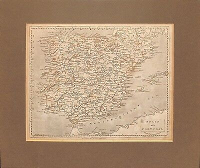 Map of Spain and Portugal_1812_Engraved by Thomas Marshall_Antique_Matted