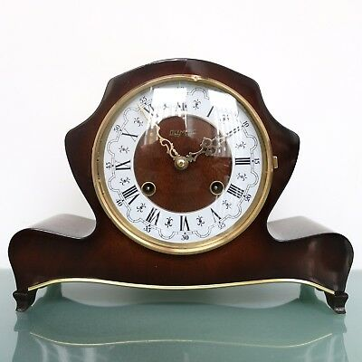 HERMLE OLYMPIC Mantel Clock Design HIGH GLOSS! Mid Century Vintage CHIME Germany