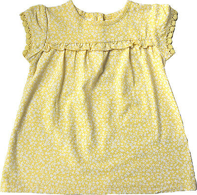 Baby Girls Ex Marks & Spencer M&S Yellow Ditsy Floral Jersey Dress Ages 0 - 18 M
