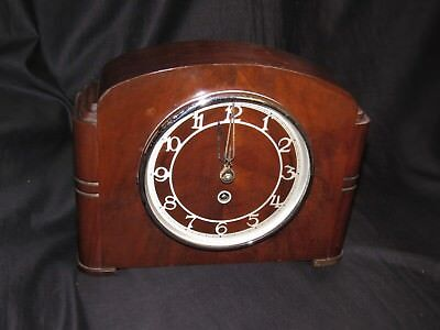 Art Deco Styled 1930's Wooden Mantle Clock
