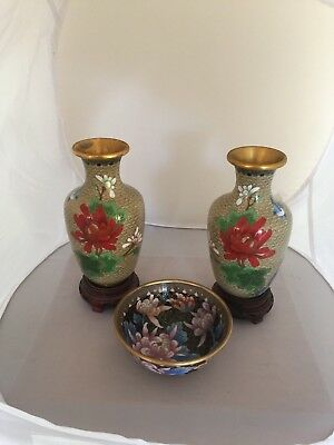 "Pair Of Lovely Cloisonne Vases On Hardwood Stands 7"" Tall & A Circular Bowl"