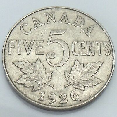 1926 Canada 5 Five Cents Nickel Canadian Circulated Coin E849
