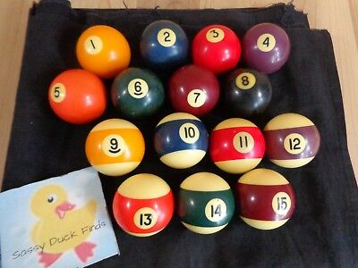 VINTAGE BILLIARD BALLS Numbered Set NO CUE BALL Pool Table Game Unbranded