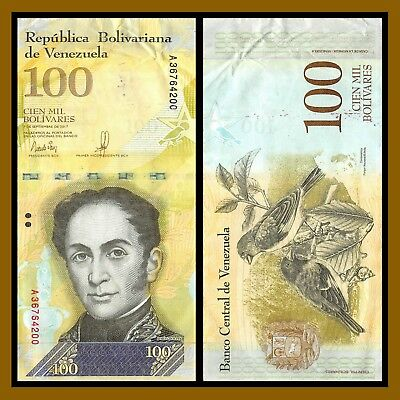 Venezuela 100000 (100,000) Bolivares, 2017 P-New USED, Circulated