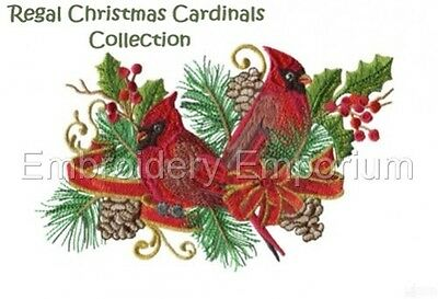 Regal Christmas Cardinals - Machine Embroidery Designs On Cd