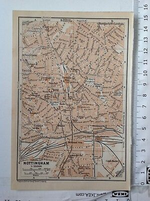 Nottingham Street Plan, 1906, Antique Map,  Atlas