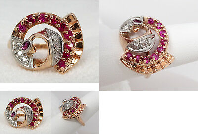 Stunning Antique Art Deco 14K Rose Gold Diamond & Ruby Ring, 9.8 GRAMS, Size 9