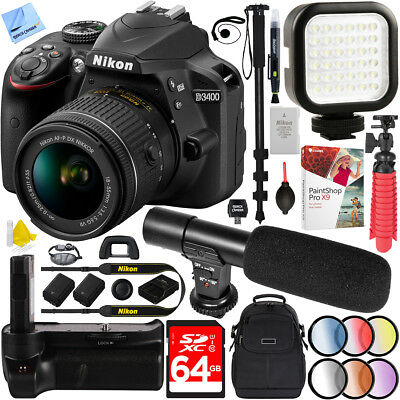 Nikon D3400 24.2 MP DSLR Camera w/ AF-P DX 18-55mm VR Lens Kit 64GB Grip Mic Kit