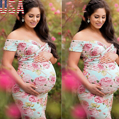 Pregnant Women Lace Maternity Dress Bodycon Long Maxi Gown Photography Props USA