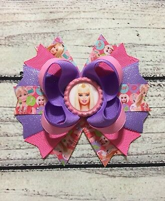 """5"""" Barbie Stacked Boutique Hair Bow Handmade"""