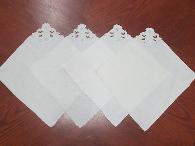 Vintage Placemats Embroidered Antique White (4 Pc) Stunning!